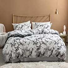Argstar 3 Pcs Queen Duvet Cover Set, Marble Printed Bedding Sets, Black Grey and White Abstract Comforter Cover with Zipper Ties, Soft Lightweight Microfiber, 1 Duvet Cover and 2 Pillow Shams