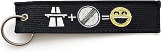 RENEGADE Motorrad Schlüsselanhänger aus Stoff mit Schlüsselring Bestickt & Kratzfest (130 x 30 mm, schwarz). Ideal für Ihr Motorrad (Autobahn Freak)