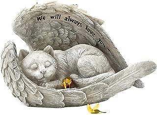 Bellaa 22878 Sleeping Angel Cat with Wings Garden Statue 9 inch Sympathy Pet Memorial