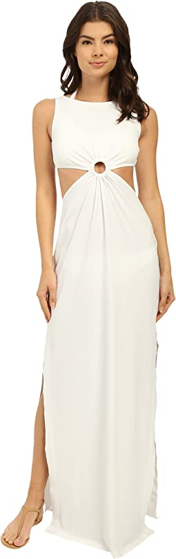 Draped Solids Open Back Cover-Up Dress