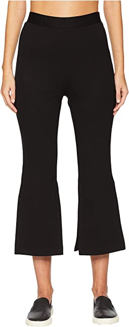 High-Waisted Cropped Pants with Slits At Sides