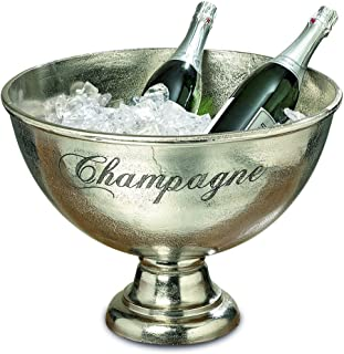 Luxury Champagne Bucket With Old World Panache, Elegant Script Text Details, Hand Cast of Silver Aluminum, Pedestal Base, Party Sized, 18.5 Inches Diameter, 13.5 Inches Tall
