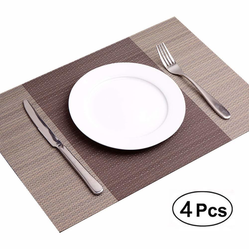 Salvamanteles Placemats 4psc Cocina Mesa de Comedor Esteras Colocación de Vinilo Tejido Antideslizante Manchas para agarraderas Calderas Lavables Colchonetas a Prueba de Calor (Color : Brown): Amazon.es: Hogar