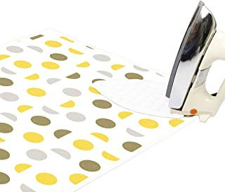ENCASA Homes Ironing Mat/Pad (Large 47 x 28 inch) with 3mm Padding & Silicone Iron Rest for Steam Pressing on Tabletop or Bed - Heat Resistant, Portable, Quilting & Travel Blanket - Yellow Moon