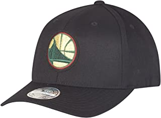 Mitchell & Ness Golden State Warriors INTL236 NBA Luxe 110 Curved Snapback Cap Black Flexfit One Size
