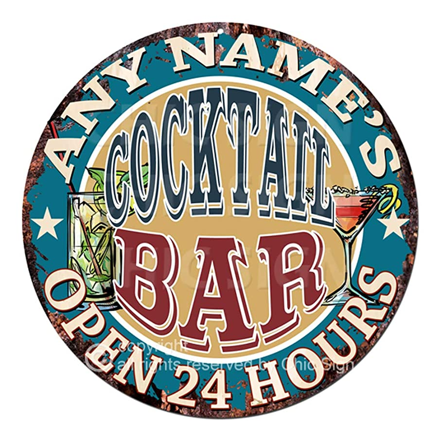 Any Name's Any Text Cocktail BAR Custom Personalized Chic Tin Sign Rustic Shabby Vintage Style Retro Kitchen Bar Pub Coffee Shop Man cave Decor Mother's Day Father's Day Housewarming Gift Ideas