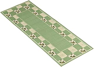 Collections Etc Hadley Patchwork Floral Accent Runner Rug with Non-Skid Backing, Sage, 22