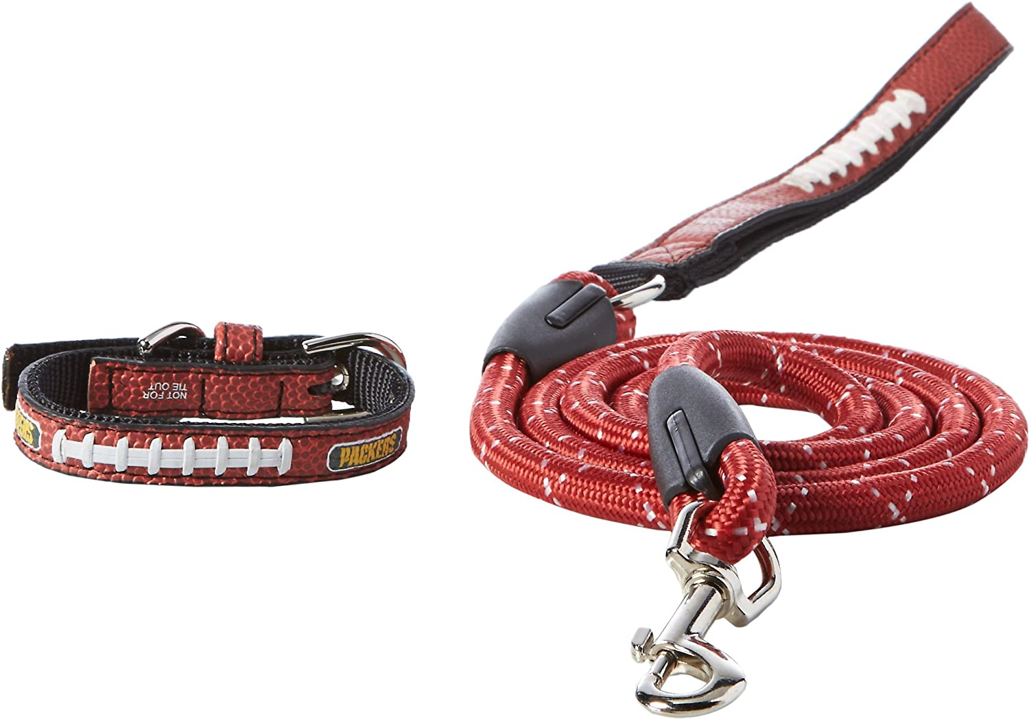 NFL Green Bay Packers Pebble Grain Toy Football Collar & Medium Leash Gift Pack, One Size, Brown