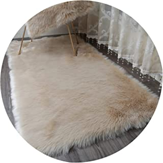 Daydreaming-shop Carpet Hairy Carpets Sheepskin Plain Fur Skin Fluffy Bedroom Faux Mats Washable Artificial Textile Area Square Rugs,Light Coffee,20X40