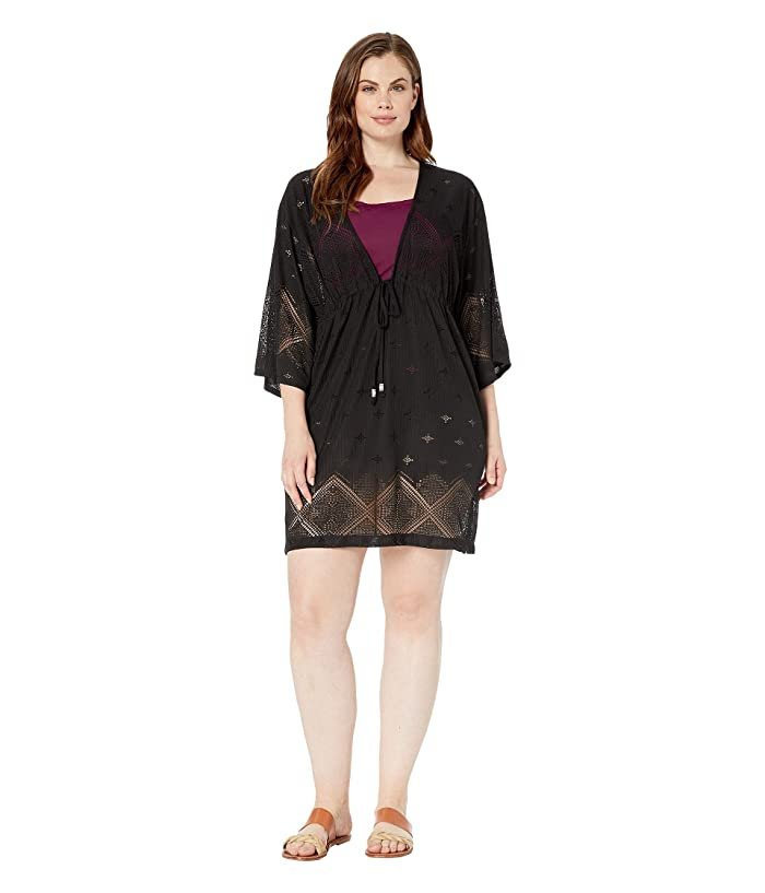 DOTTI Plus Size Santorini Tile Tunic Cover-Up (Black) Women