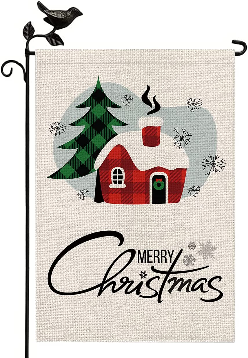 Christmas Garden Flags 12x18 Double Sided, Buffalo Plaid Christmas Tree House Yard Flag Farmhouse Burlap Outdoor Christmas Flag Winter Yard Decorations