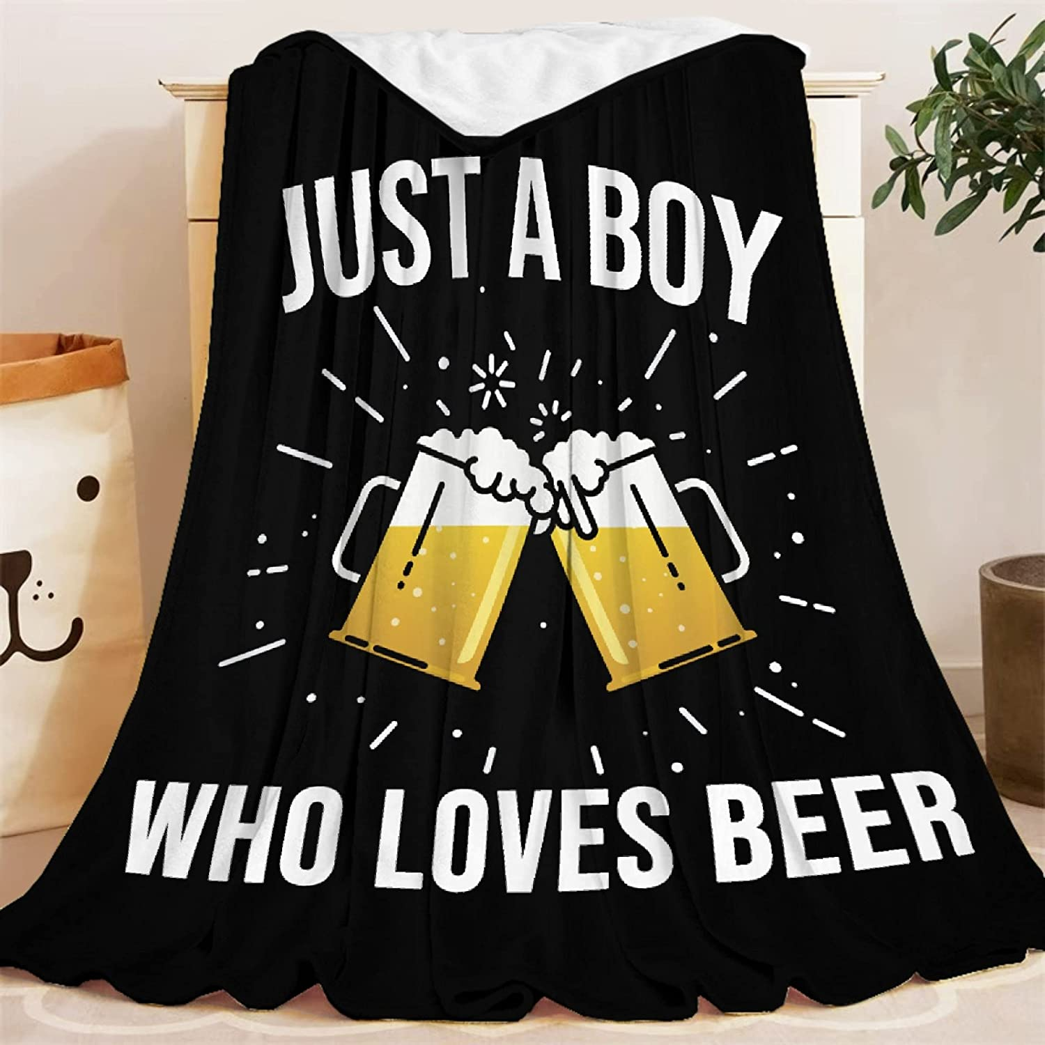 Blanket Just Boy Who overseas Loves Beer Soft Cond Lightweight Selling Throws Air