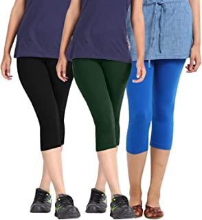 Fablab Capri Leggings 3/4th Pants for Girls|Ladies| Women.(BlackDarkGreenSkyblue,Free Size) Combo Pack of 3.