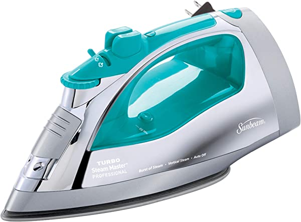 Sunbeam Steammaster Steam Iron 1400 Watt Large Anti Drip Nonstick Stainless Steel Iron With Steam Control And Retractable Cord Chrome Teal
