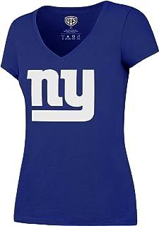 OTS NFL New York Giants Women`s Rival V-Neck Tee, Logo, X-Large