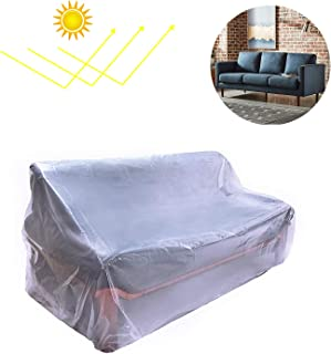 Plastic Couch Cover,Waterproof Sofa Cover,Waterproof Clear See-Through Plastic Furniture Protector,Sectional Couch Covers Sofa Cover,92