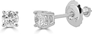 Amazon Collection AGS Certified 14K Gold Round-Cut Diamond Stud Earring (1/4 - 2 cttw, K-L Color, I1-I2 Clarity)