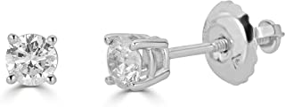 AGS Certified 14K Gold Round-Cut Diamond Stud Earring (1/4 - 2 cttw, K-L Color, I1-I2 Clarity)