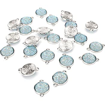 4 Sand Dollar Connector Antique Silver Tone Charms SC4718