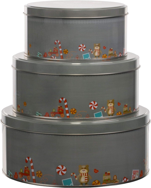 dise/ño de Navidad Brandsseller color gris claro Juego de 3 cajas para galletas