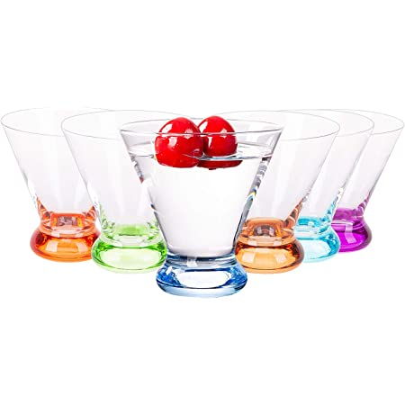 Vastto 6.7 Ounce Multicolor Martini Glass,for Home Dinning, Bar and Party,Set of 6 (Six Bright Colors)