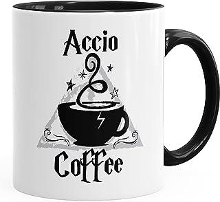 """MoonWorks Taza de café con texto en alemán """"Accio Coffee"""" taza de cerámica, color negro, talla única"""