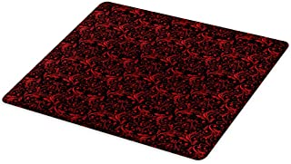 Ambesonne Victorian Cutting Board, Vintage Floral Design with Ivy Swirls Flowers Design Image Print, Decorative Tempered Glass Cutting and Serving Board, Large Size, Charcoal Ruby