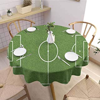 Luoiaax Teen Room Leakproof Polyester Round Tablecloth Soccer Field Grass Motif Stadium Game Match Winner Champion Sports Area Outdoor and Indoor use D63 Inch Round Fern Green White