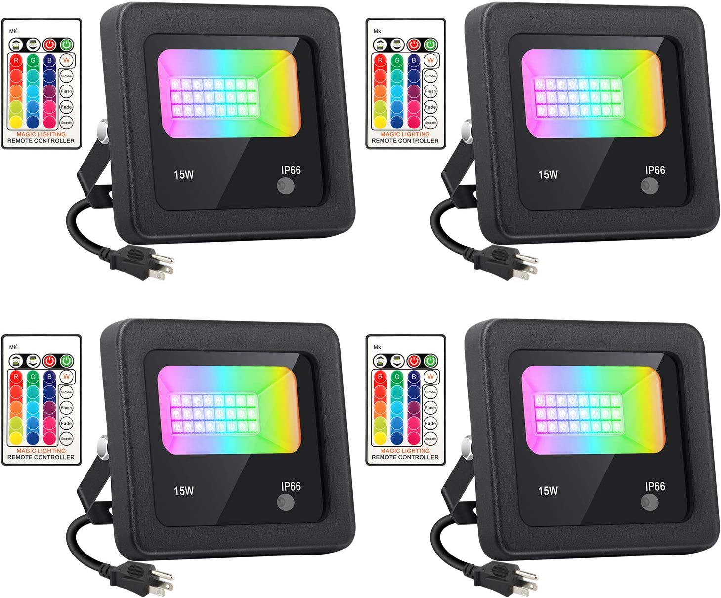 Latest item YeeSite 4 Pack 15W RGB LED Outdoor Flood Lights 100W Ranking TOP16 Equivalent