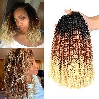 Spring Twist Hair Synthetic Braiding Hair Extensions Ombre Colors 3 Packs Synthetic Braiding Hair Extensions 8 inch fashion Crochet Braids(3 Packs,Black Brown Blonde)