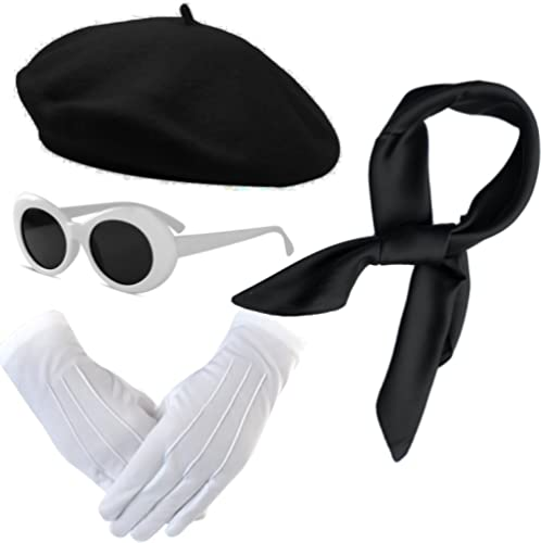 Womens Costume Accessories - French Beret Hat,Sheer Chiffon Scarf,Deluxe Theatrical Gloves,Retro Oval Sunglasses