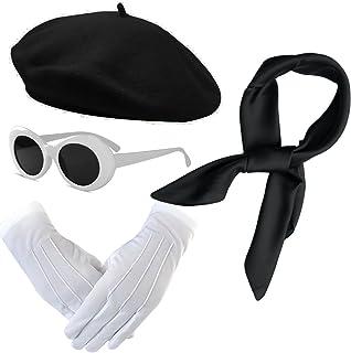 إكسسوارات أزياء النساء - قبعة بيريه الفرنسية، وشاح شيفون شفاف، قفازات مسرحية فاخرة، نظارات شمسية بيضاوية قديمة