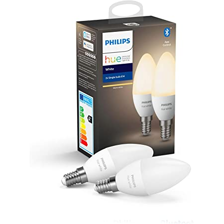 Philips Hue White Smart Candle Bulb Twin Pack LED [E14 Small Edison Screw] with Bluetooth. Works with Alexa and Google Assistant.