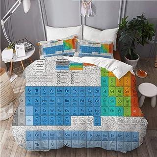 per letto singolo 50/% cotone//50/% poliestere// in cotone//poliestere Copripiumino singolo Set copripiumino reversibile con tavola periodica degli elementi