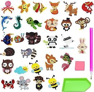 30 stuks 5D Diamond Painting kinderset, 5D DIY Diamond Painting Stickers Kits,diamond painting,dieren, diamantstickers voo...