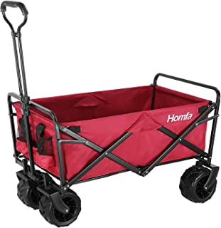 Homfa Carro Transporte Plegable Carro de Mano Carro para Playa Jardín con 4 Ruedas Rojo Oscuro 90x59x55.5cm