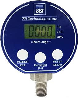SSI TECHNOLOGIES MG-9V Series Media Gauge Digital Pressure Gauge Sensor with LCD Display, 1500psig Operating Pressure, 9V, 0.25% Accuracy, 1/4-18 NPT Male Process Connector Type