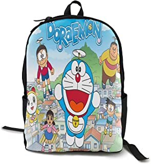 Doraemon Paquete Mochila Clásica Mochila Escolar Negro Bolsa de Trabajo para Viaje de Poliéster Unisex Escuela