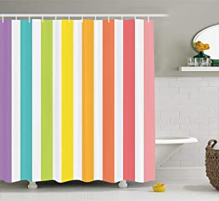 Ambesonne Modern Decor Shower Curtain by, Circus Theme Rainbow Colored Image Bold Stripes with Blank Background Image, Fabric Bathroom Decor Set with Hooks, 70 Inches, Multicolor