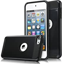 ULAK iPod Touch 7 Case, iPod Touch 6 Case, Slim Fit Dual Layer Hard PC Back+TPU Shockproof Interior Protective Case Cover for Apple iPod Touch 5th/6th/7th Generation, Black