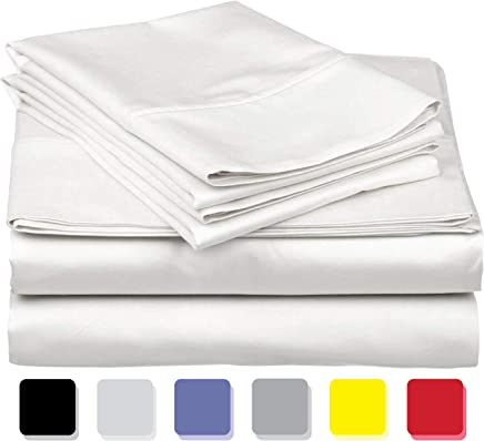 400-Thread-Count 100% Cotton Sheet Pure White King...