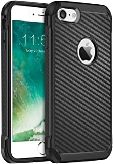 BENTOBEN iPhone 7 Case, iPhone 8 Case, Stylish Rugged Shockproof Impact Resistant Anti-Scratch Hybrid Soft TPU Hard PC Carbon Fiber Texture Protective Phone Cover for Apple iPhone 8/7 4.7''- Black