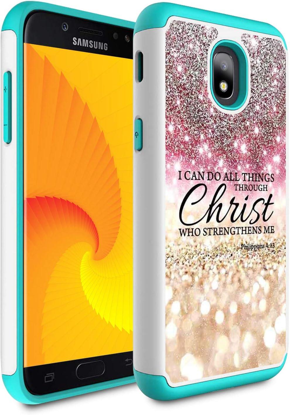 Compatible with Galaxy j3 2018/J3 Achieve/Express Prime 3/j3 Star/J3 V 3rd Gen 2018/j3 Orbit case,Skyfree Heavy Duty Dual Layer Bumper Protective Case for Galaxy J3 2018,Bible Verse Philippians 4-13