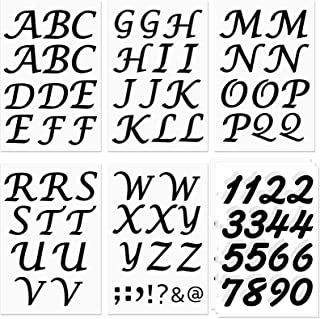 84 Pieces Iron on PU Letters Numbers Set, Including 5 Sheets 2 Inch Tall Heat Transfer Alphabets and 3 Sheets 2 Inch Tall ...
