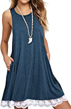 Sanifer Women Summer Tunic Dress Lace Tank Dress Sleeveless T-Shirt Dress with Pockets