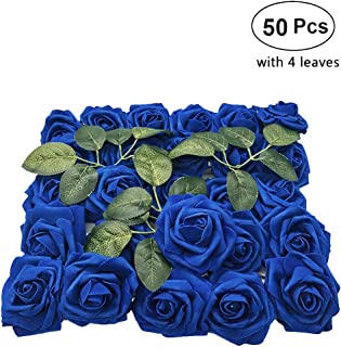 Lmeison Artificial Flowers Rose, 50pcs Real Looking Artificial Royal Blue Roses Fake Foam Flower for Bridal Wedding Bouquets Centerpieces Baby Shower DIY Party Home Décor, 4 Leaves