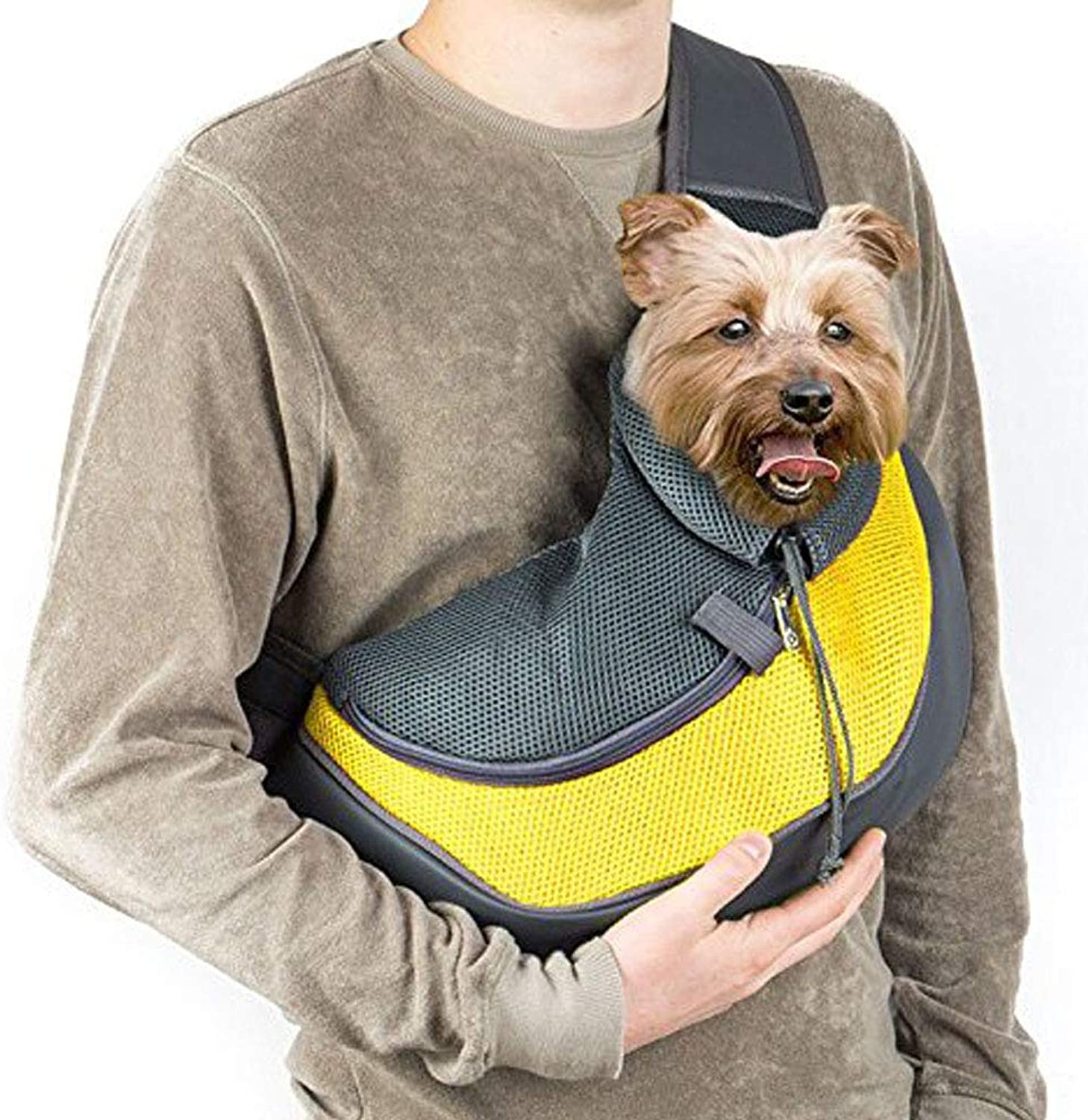 Outdoor Pet Dog Cat Carrier Sling HandsFree Shoulder Travel Bag Mesh Backpack Travel Tote Shoulder Bag with Inner Leash,Yellow,S
