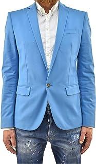 DSQUARED2 Blazer Jacket Elegant Man Light Blue Cotton One Button Lined Size IT46