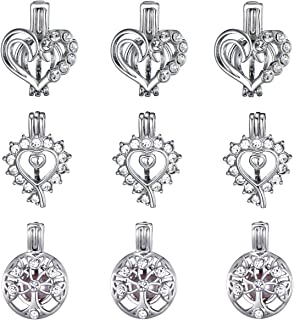 9 Pcs Diamond Heart Tree of Life Pearl Bead Cages White Gold Plated Locket Pendant Charms for Essential Oil Diffuser Jewelry Making for Mom