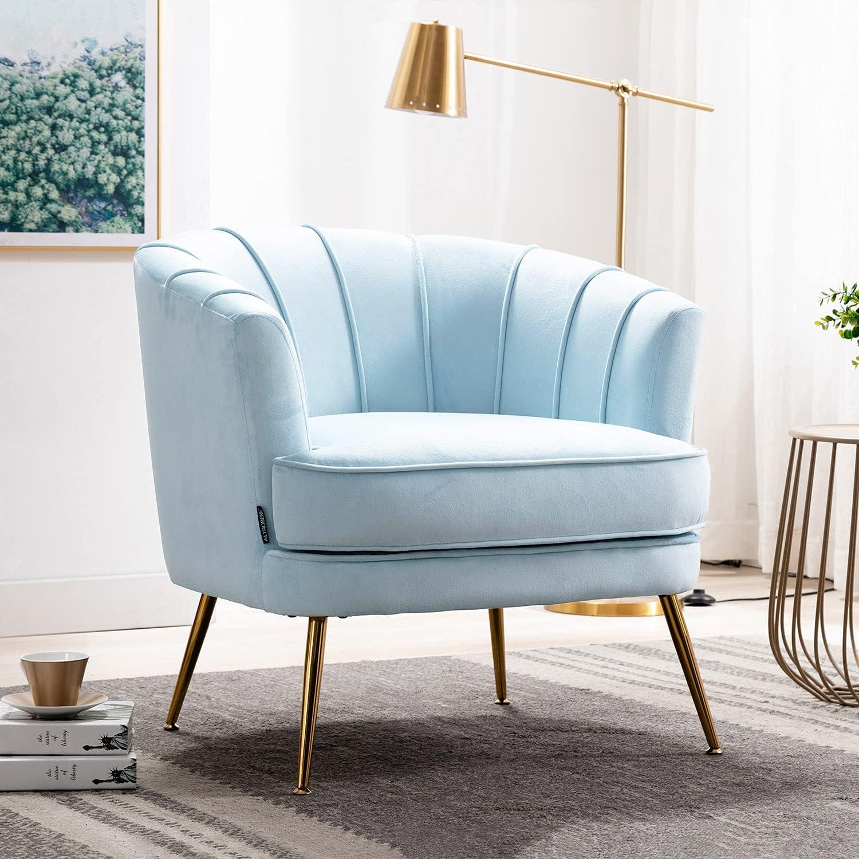 Altrobene Velvet Modern Accent Chair Albuquerque Mall Room Armc Decor 2021new shipping free Club Barrel